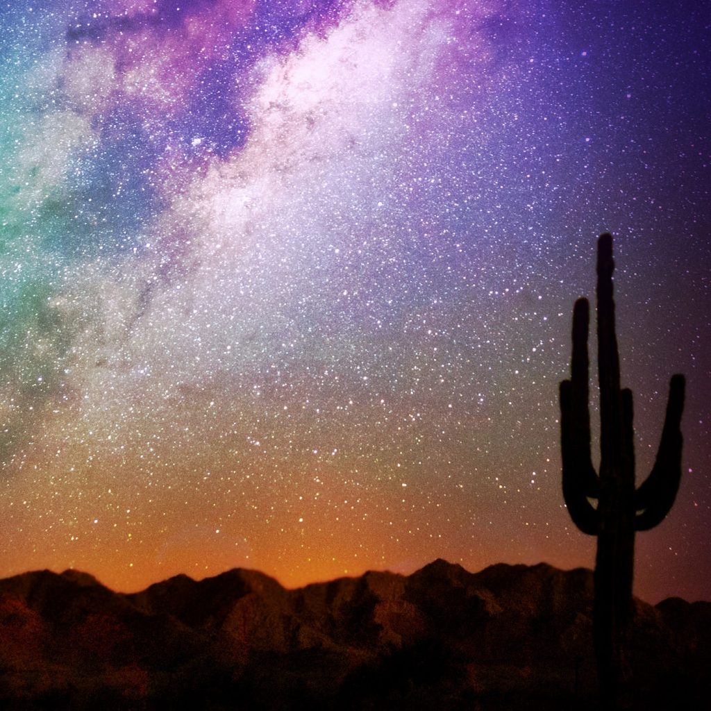 photo of mountains and saguaro cactus silhouetted against a orange and purple sky with stars.